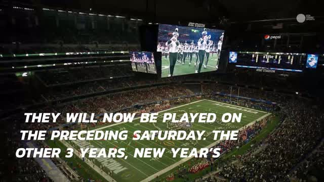 They now will instead be played on the preceding Saturday. The other three years, New Year's Day falls on Saturday or is designated a Federal holiday.