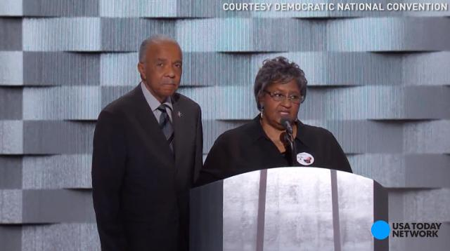 The loved ones of police officers who have been killed in the line of duty shared stories of their kindness at the Democratic National Convention.