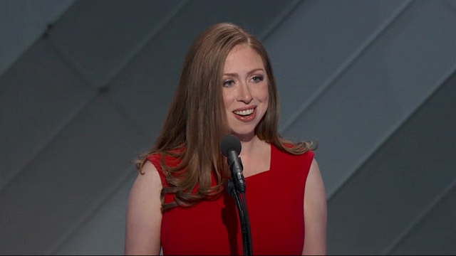 Chelsea Clinton has taken the stage at the Democratic National Convention to introduce her mother Hillary Clinton ahead of her acceptance of the Democratic nomination for president. (July 28)