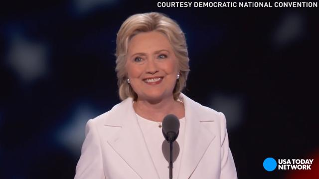 Hillary Clinton formally accepted the Democratic presidential nomination, making her the first woman to be a presidential nominee for a major political party.