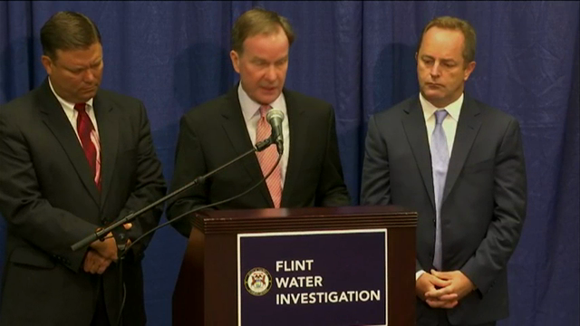 Six current or former state employees were charged Friday with misconduct and other crimes in the Flint water crisis, bringing to nine the number of public officials facing prosecution over the lead contamination. (July 29)