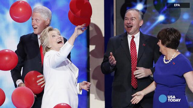 Grown-ups go crazy over balloon drop at Democratic National Convention