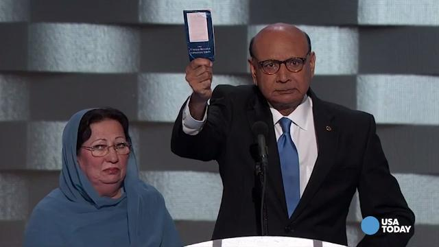 The father of a Muslim-American Army captain killed in Iraq offered a challenge to Donald Trump during a speech at the Democratic National Convention. Khizr Kahn's son, Humayun Khan, was killed during Operation Iraqi Freedom in 2004.