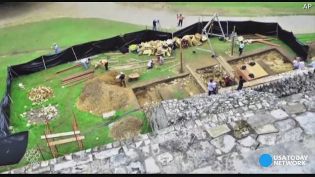 Raw: Small canal found under Mayan temple