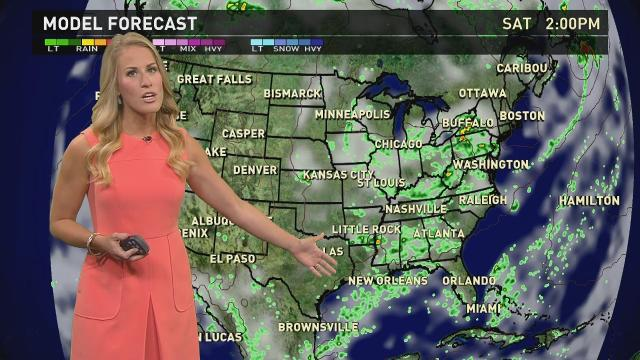Saturday's forecast: Scattered storms across East