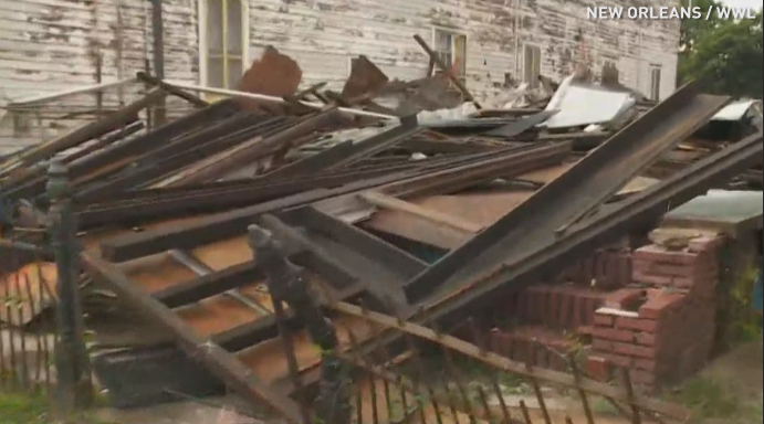 Storm delivers final blow to Katrina-blighted building