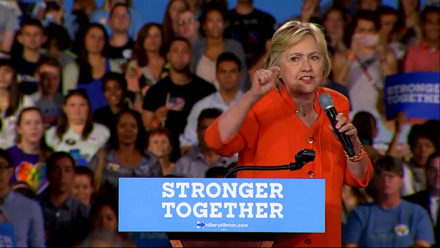 Clinton Contrasts Message of Optimism with GOP