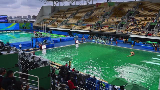 Olympic Swimming Pool 2016 reason offered for green water at rio olympic diving, water polo pools