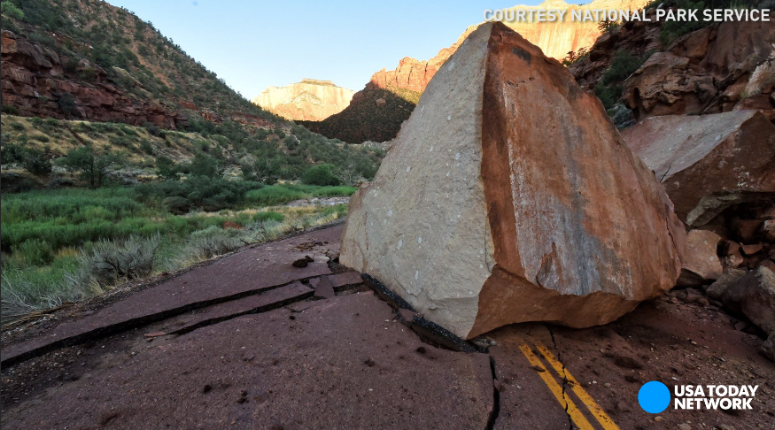 A massive boulder stopped traffic and seriously damaged the main roadway in Zion National Park after reports of severe weather.