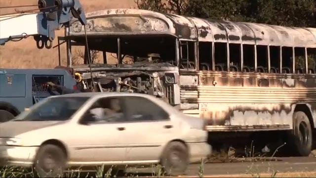 Bus carrying farmworkers catches fire in California