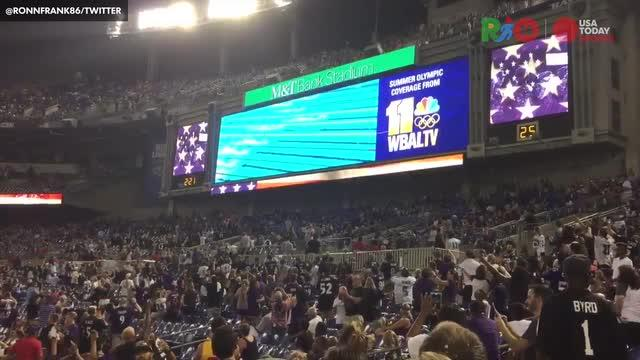 Watch: Baltimore Ravens stop preseason game to see Michael Phelps race