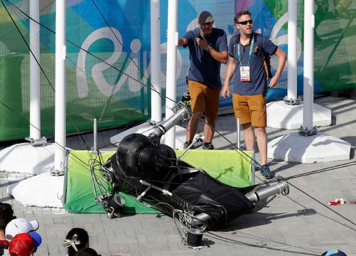 Overhead camera falls, injures two at Rio Games