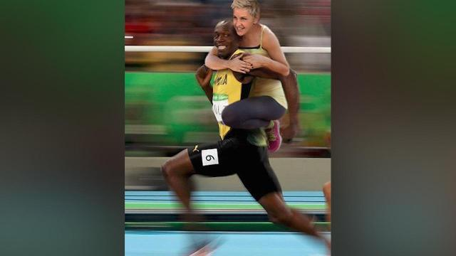 The internet is angry with Ellen DeGeneres for photoshopping herself riding Usain Bolt's back onto a now-famous image of Bolt smiling as he sprints toward the gold medal in the 100-meter race at the Rio Olympics.