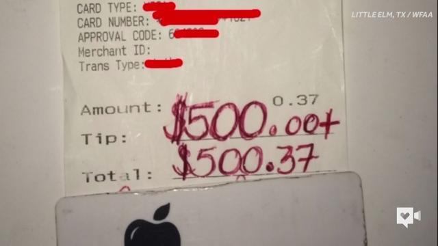 Server receives $500 tip for his kindness