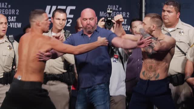 Conor McGregor and Nate Diaz face off finally at UFC 202 ceremonial weigh-ins