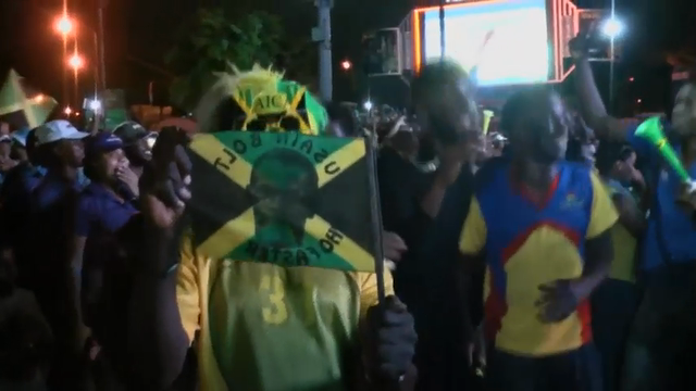 Raw: Jamaica Fans Celebrate Usain Bolt Victory