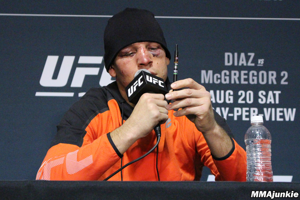 Nate Diaz vapes CBD oil at UFC 202 post-fight press conference