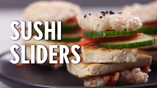 Forget messy burgers and opt for bite-size sushi sliders for a trendy treat. Packed with flavor thanks to teriyaki tofu and gochujang mayo, they work as a meal or adorable appetizers.