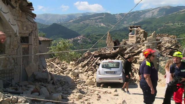 Rescue workers in the tiny Italian hamlet of Illica race to recover people trapped under the rubble of collapsed houses following a deadly earthquake in central Italy. Video provided by AFP
