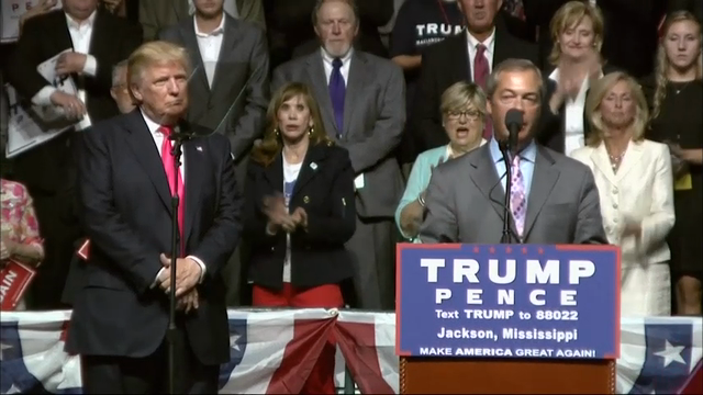 Trump Welcomes Brexit Campaigner at Miss. Rally