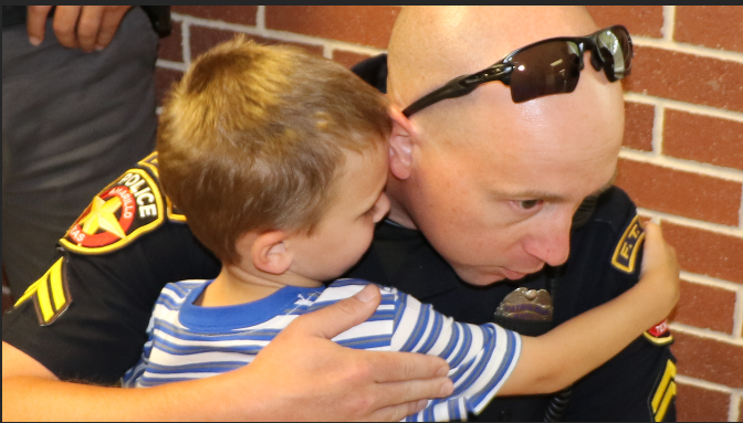 Jackson's late father may not have been there for his first day of Pre-K, but dozens of police officers showed up to make sure he didn't start his first day of school alone.