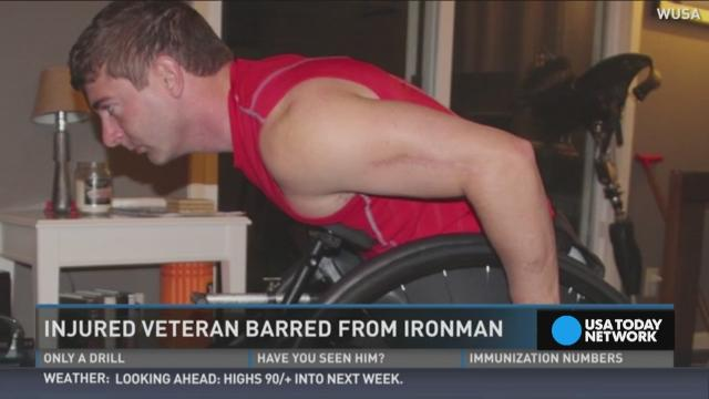 Dan Berschinski, a veteran who lost both his legs in Afghanistan, is speaking out after being barred from an Ironman competition in Maryland.
