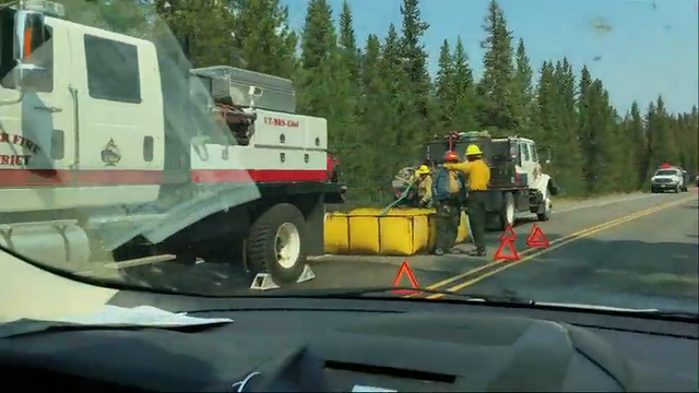 The wildfire inside Grand Teton National Park forced officials to close a road leading north to Yellowstone National Park. A fire incident commander says he expects the Grand Teton blaze to burn well into September. (Aug. 26)
