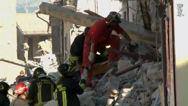 Before attending a state funeral for some of the victim's of Italy's earthquake, President Sergio Mattarella visited Amatrice, the town that saw some of the worst damage and the highest death toll. He viewed the devastation, and thanked rescue workers. (Aug. 27)