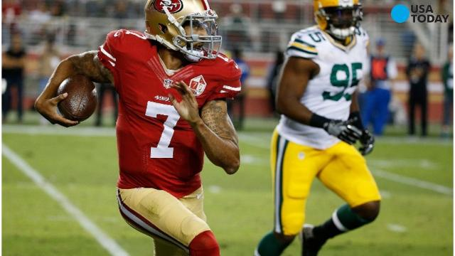 San Francisco 49ers quarterback Colin Kaepernick refused to stand during the national anthem in a preseason game against the Green Bay Packers.