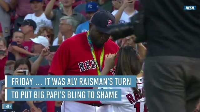 Aly Raisman throws out first pitch, David Ortiz wears medals