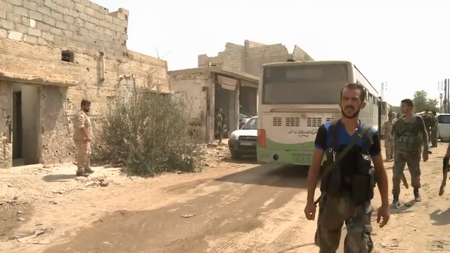 Syrian rebels were evacuated from Daraya, a suburb of Damascus, and arrived in Idlib on Saturday, as part of a deal between Syrian rebels and the government. (Aug. 27)