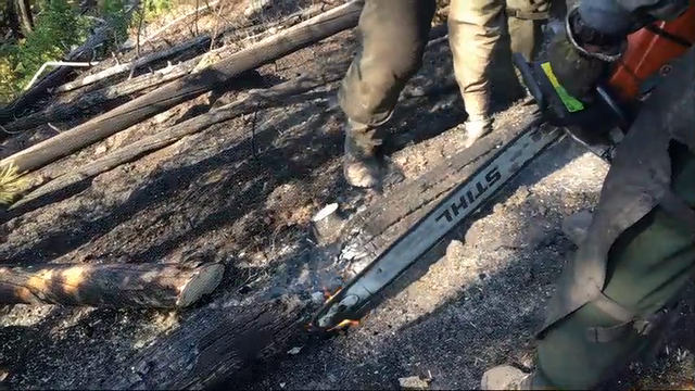 Firefighters working on steep hillsides are chopping down trees and searching for hotspots as they battle a wildfire that's blocking an entrance to Yellowstone National Park. (Aug. 28)