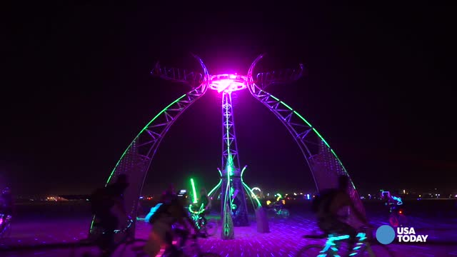 Lights down, party on at Burning Man