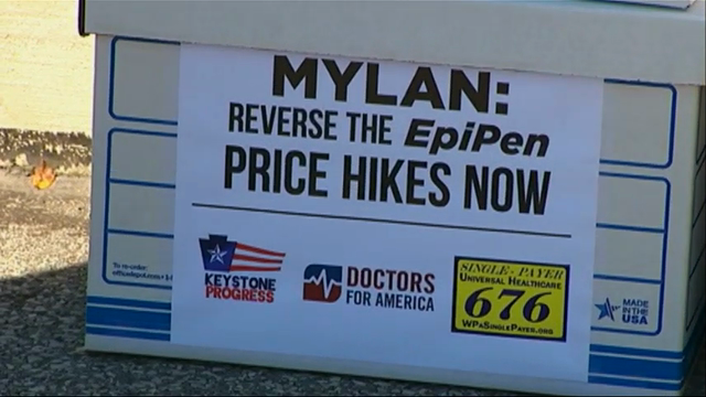 Protesters deliver petitions over EpiPen pricing