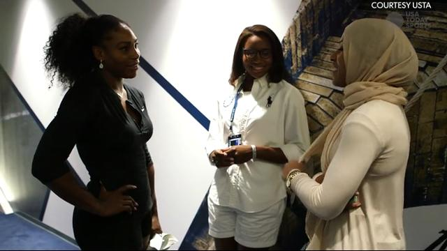 Serena Williams chats with fellow Olympians