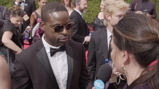 'The People vs. O.J. Simpson' star Sterling K. Brown talks about whether he would like to meet the real Chris Darden at the Emmy's red carpet.