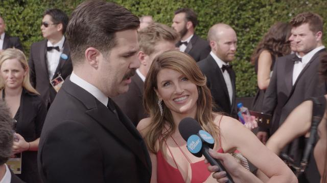 On the Emmy's red carpet, 'Catastrophe' stars Sharon Horgan and Rob Delaney discuss what keeps their characters together.