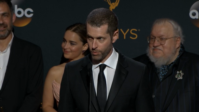 """Backstage at the Emmy Awards, """"Game of Thrones"""" creators D.B. Weiss and David Benioff wax lyrical about the show's future. (Sept. 19)"""