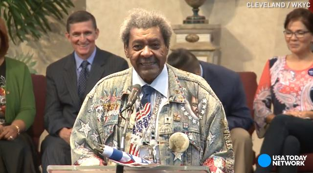 Boxing promoter Don King accidentally used the N-word at a Donald Trump African-American outreach event in Cleveland.