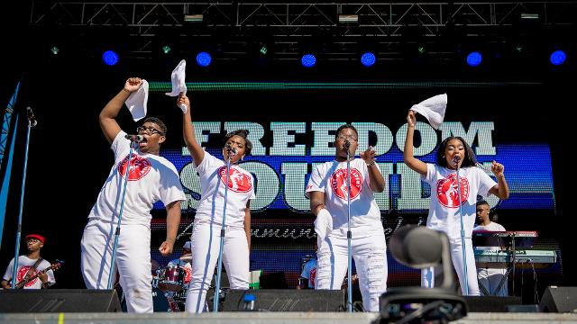 """Students from the legendary Stax Music Academy traveled to Washington, D.C. to perform during the Smithsonian National Museum of African American History and Culture's """"Freedom Sounds"""" celebration Friday."""