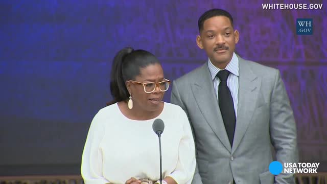 During the opening ceremony of the Smithsonian's National Museum of African American History and Culture Oprah Winfrey and Will Smith recite poetry from some of the country's most historical black authors.