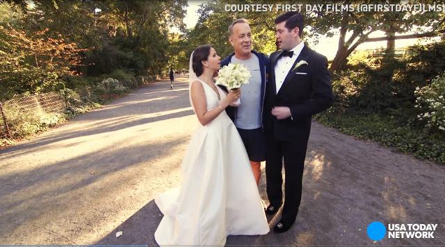 Tom Hanks epically crashes wedding photo shoot