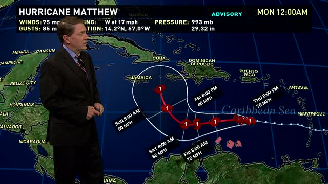 Hurricane Matthew powers to Category 4 major storm