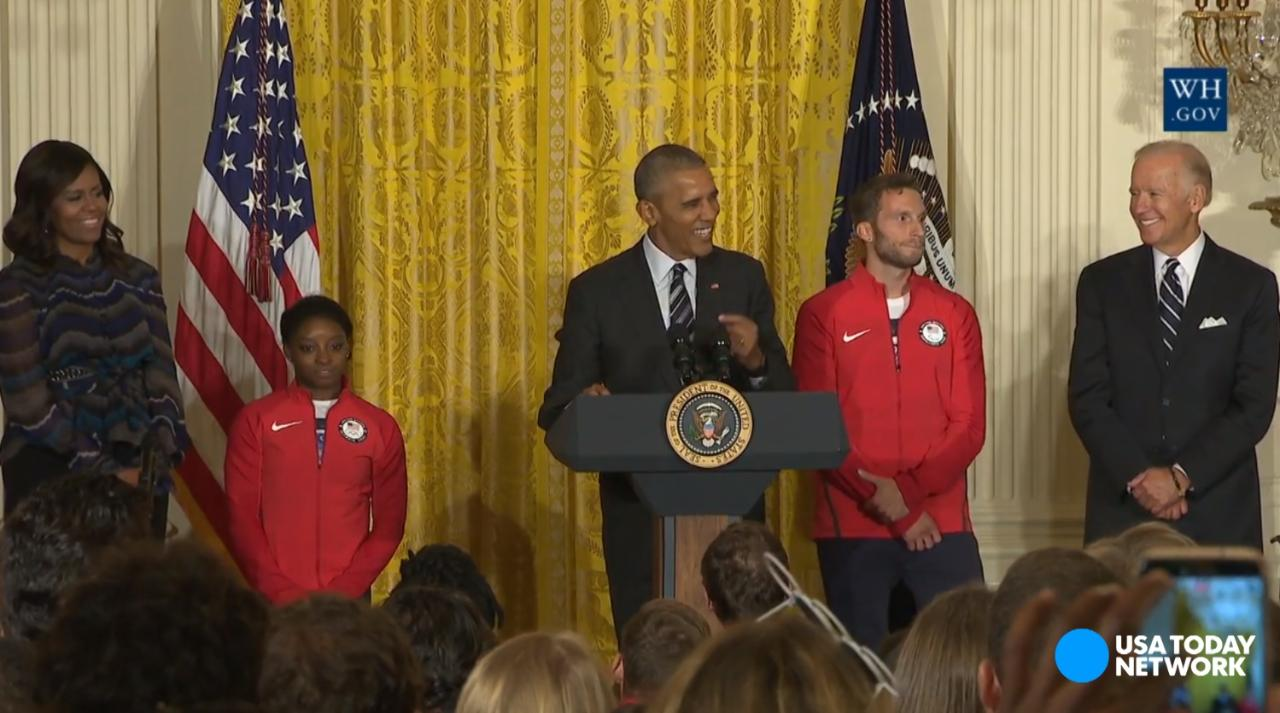 Michelle Obama reminded the 2016 U.S. Olympians the importance of fruits and vegetables as President Obama honored them at the White House.