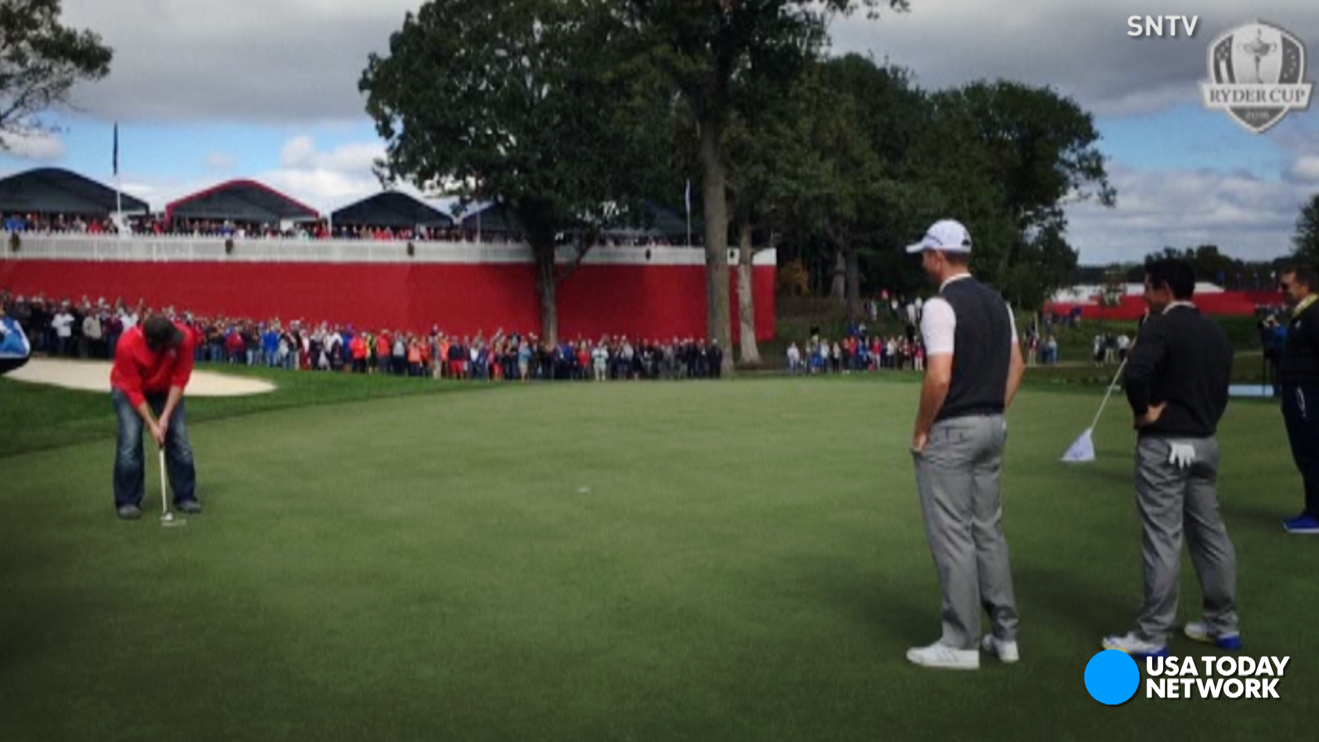 When Rory McIlroy and Henrik Stenson kept missing a putt during a Ryder Cup practice round, a spectator showed them how it's done.