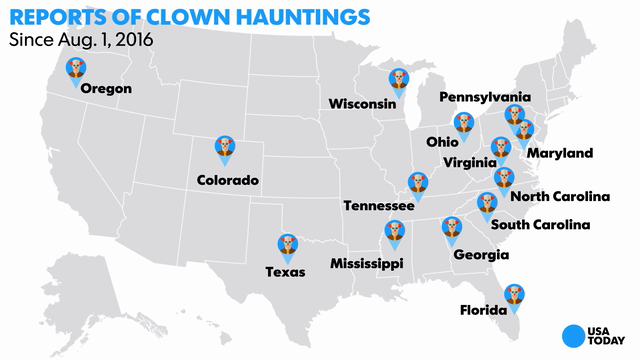 Reports of clown hauntings since Aug. 1, 2016