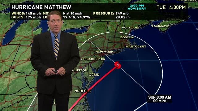 Hurricane Matthew moves up East Coast over the weekend
