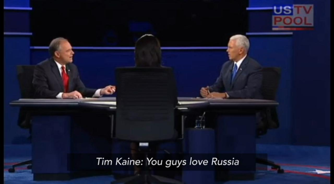 Tim Kaine to Mike Pence: 'You guys love Russia'