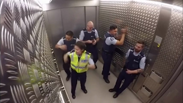 New Zealand Cops Turn Elevator Ride Into Drum Session