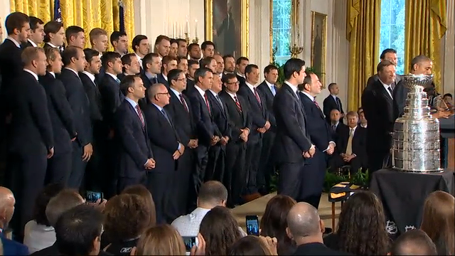 President Barack Obama hosted the Pittsburgh Penguins at the White House Thursday to congratulate the hockey team for their recent Stanley Cup victory over the San Jose Sharks. (Oct. 6)